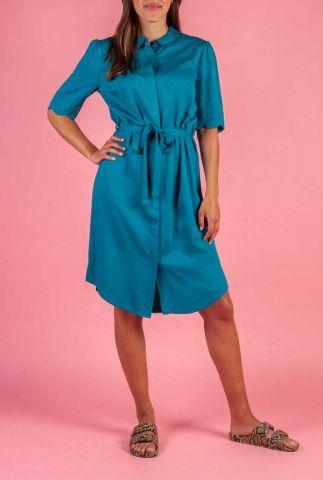 petrol kleurige viscose jurk met strikceintuur ryawa dress