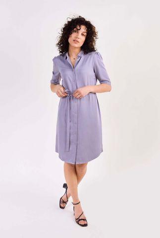 lila kleurige jurk met klassieke kraag en ceintuur ryawa dress s/s