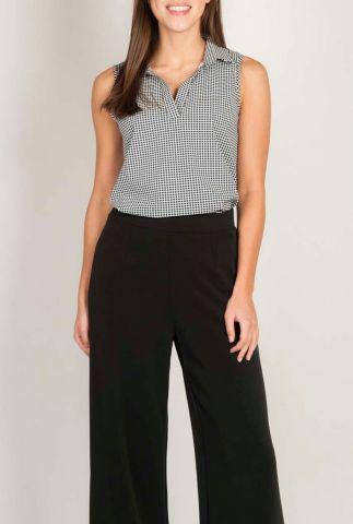 mouwloze top met overhemdkraag en all-over print s20m-renop