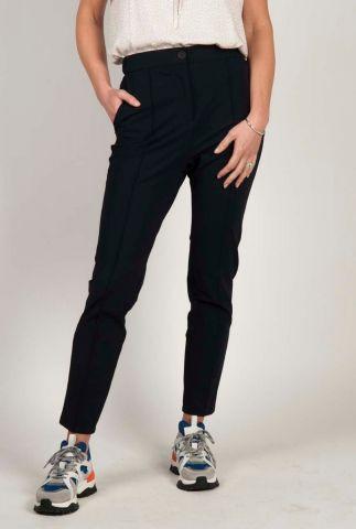 donkerblauwe pantalon van een gladde stof met deelnaden s20n698
