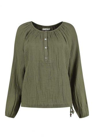 donker groene top van crinkle katoen stella blouse s21.93.2088