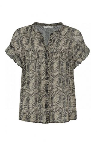 blouse met all-over print en ruches mouwen brandi s21.101.3005