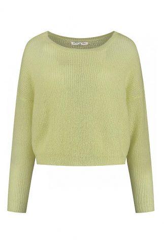 licht groene fijngebreide cropped trui janey knit s21.69.9841