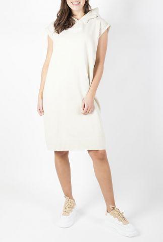 licht beige sweat jurk met capuchon s21f870
