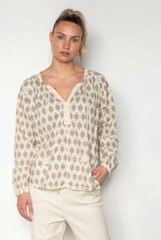 ecru kleurige blouse met sierlijke print s21f920ltd