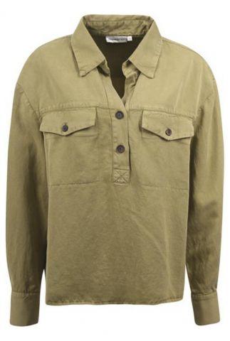 donker groene blouse van linnenmix s21n916