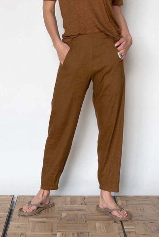donkerbruine broek met elastische tailleband s21n981ltd