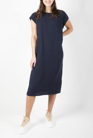 donkerblauwe midi jurk met wafel structuur s21t530