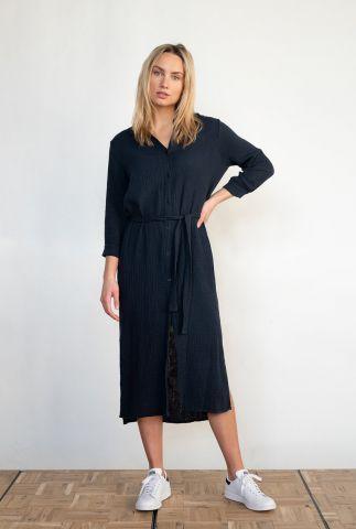 katoenen midi jurk met klassieke kraag en ceintuur s21t532