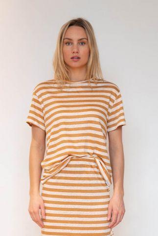 oranje wit gestreept linnen t-shirt s21t545