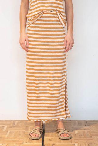 oranje wit gestreepte linnen maxi rok s21t546