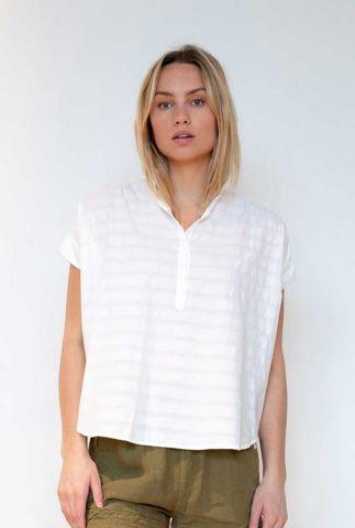 witte blouse met ingeweven structuur s21t559