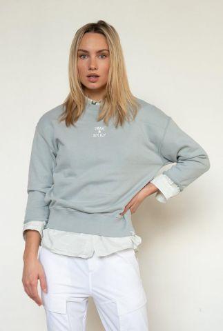 licht grijze sweater met 3/4 mouwen en logo opdruk s21t563