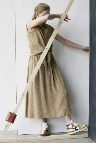 bruine maxi rok met wafel structuur s21t601ltd