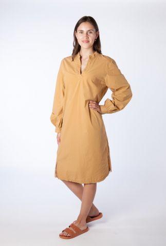 okergele jurk van katoen met v-hals en lange mouwen s21w315