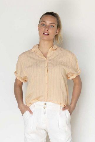 licht oranje blouse met korte mouw en krijtstreep s21w326