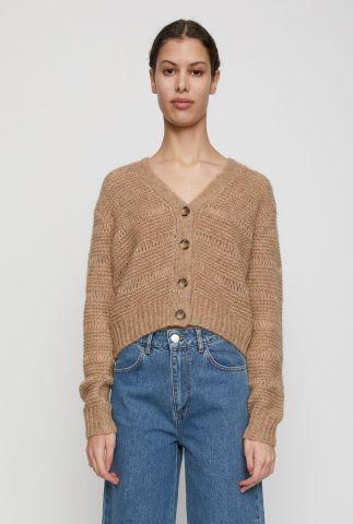 beige vest van alpaca mix met ingebreid dessin sagi knit cardigan