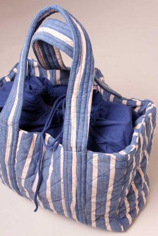 doorgestikte blauwe tas met licht roze streep dessin sally xl totebag