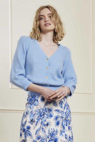 licht blauw vest van wolmix sally cardigan 3/4 sleeve