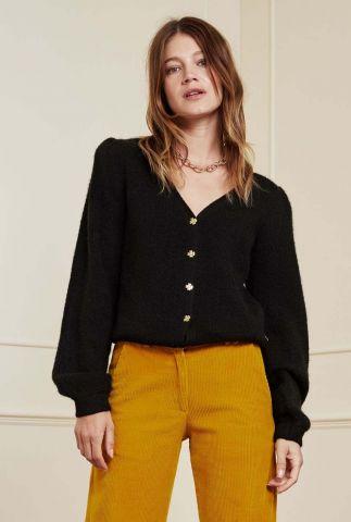 zwart vest met schoudervullingen en v-hals sally cardigan long sleeve