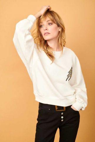 witte sweater van biologisch katoen met broderie samil