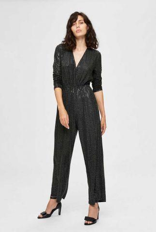zwarte glitter jumpsuit met v-hals sandra jumpsuit 16076265