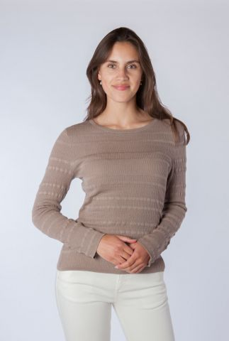 taupe kleurige ribgebreide trui sanya knit blouse
