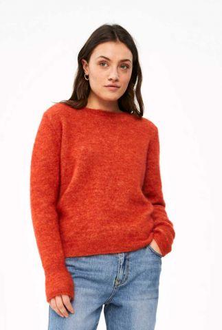 oranjerode gebreide wolmix trui met superkid mohair sara pullover