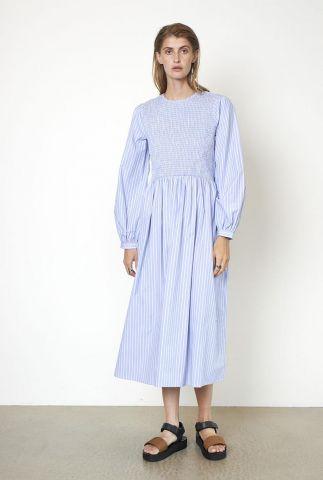 blauw met wit gestreepte jurk met smock detail sariah dress