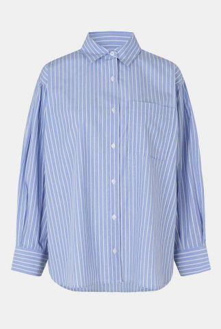blauwe blouse met witte strepen en borstzak sariah shirt