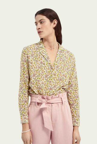 off-white blouse met gekleurd bloemen dessin 161502
