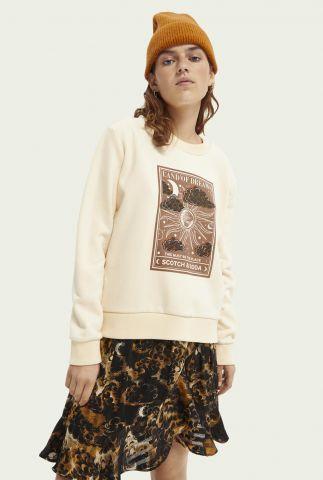 ecru kleurige sweater met opdruk en geborduurde details 164848