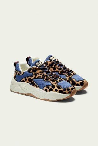 leren dad sneakers met harig luipaard dessin celest 21731100