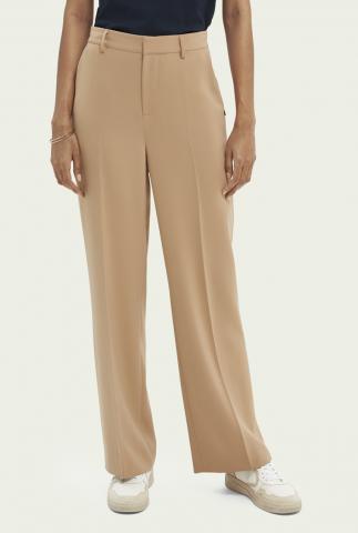 zandkleurige high waist broek met wijde pijpen 162533