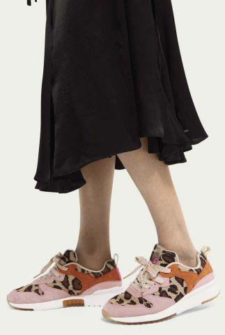 roze suède sneakers met luipaard dessin 22733728 vivi