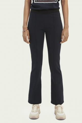donkerblauwe flared legging met elastische tailleband 160534