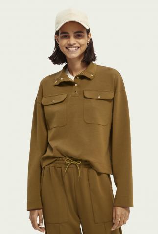 olijfkleurige sweater met hoge hals utility sweater 164211