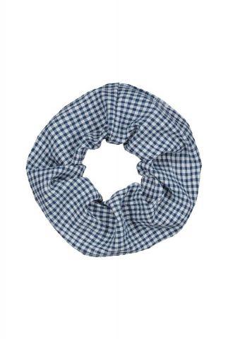 blauw met wit geruit haar elastiek scrunchie lynn