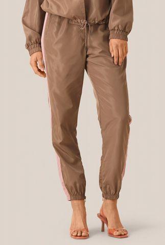 sportieve bruine broek met roze biezen season hw trousers