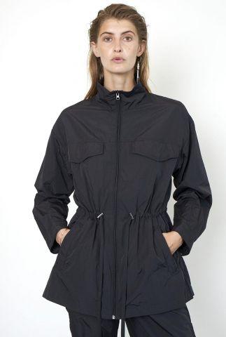 zwarte half lange getailleerde jas met tunnelkoord season new jacket