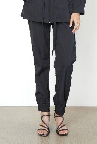 zwarte nylon broek met elastische band season new track trousers