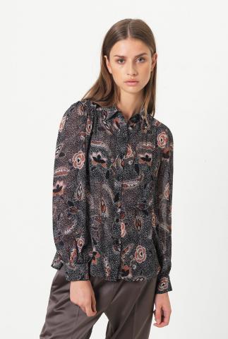 zwarte viscose blouse met sierlijke print en klassieke kraag geo shirt
