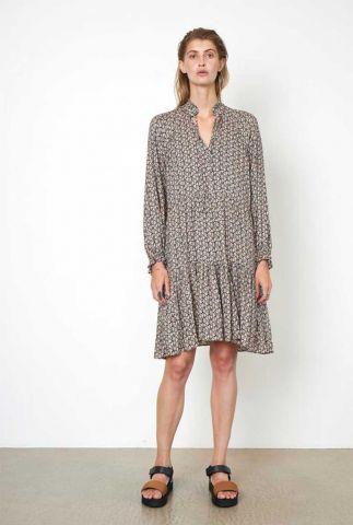 zwarte viscose jurk met sierlijke print frank dress 54462