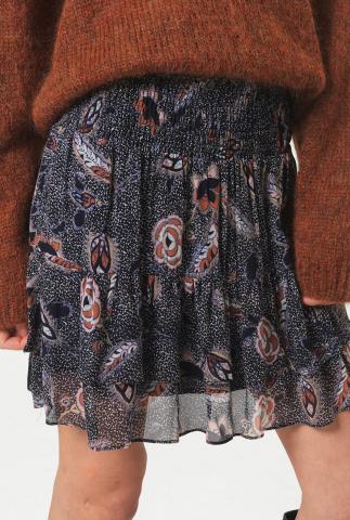 zwarte viscose mini rok met laagjes en sierlijke print geo skirt
