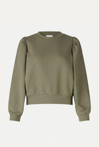 zachte sweater met geplooide pofmouwen carmella sweat