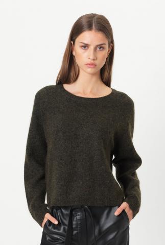 donker groene trui van een zachte wolmix brook knit new loose o-neck