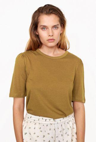 lichtbruin t-shirt met ronde hals en wijde mouwen dorph tee