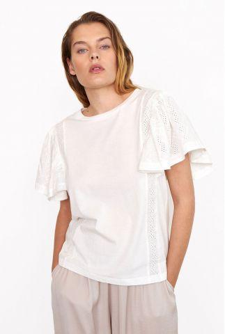 wit t-shirt met wijde mouwen en broderie anglaise detail filippa tee