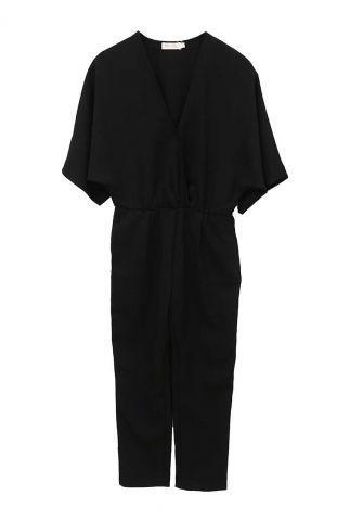 zwarte getailleerde jumpsuit met wijde mouwen 21191036