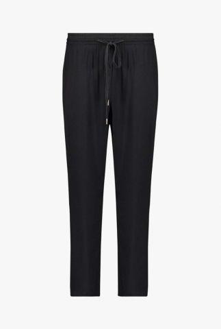 zwarte broek met elastische taille en tunnelkoord seisen twill pants
